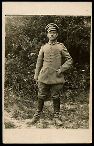 1916-OFFICER-WW1-GERMAN-REGIMENT-ARMY-MILITARY-ANTIQUE-RPPC-PHOTO-POSTCARD