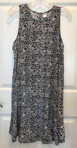 Women-039-s-Old-Navy-Sleeveless-Swing-Dress-Knee-Length-Medium-Black-amp-White-Floral