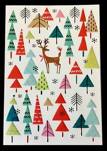 Unicef Christmas Cards.Details About Unicef Holiday Cards Deer Multi Colored Xmas Trees Box Of 12 Brand New