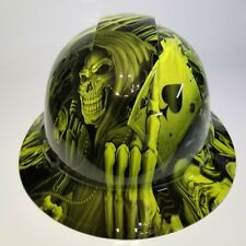 Full Brim Hard Hat Custom Hydro Dipped In Hi Vis Green Ace Of Skulls New