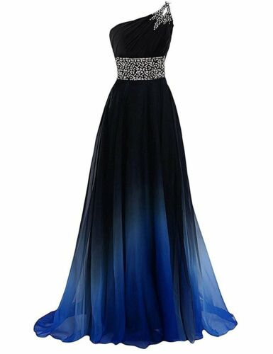 2019 New One Shoulder Beaded Chiffon Bridesmaid Dress Long Evening Prom Dresses