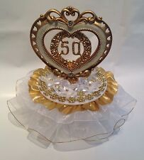 50th Anniversary Cake top crystal like flowers decorated in gold and ivory 7""