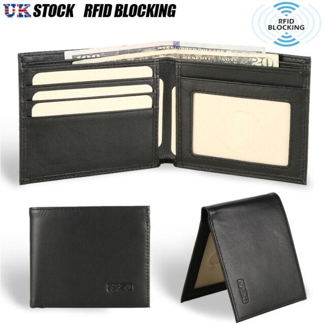 Mens Genuine Leather Bifold Wallet Purse Business Credit Card Holder Black New