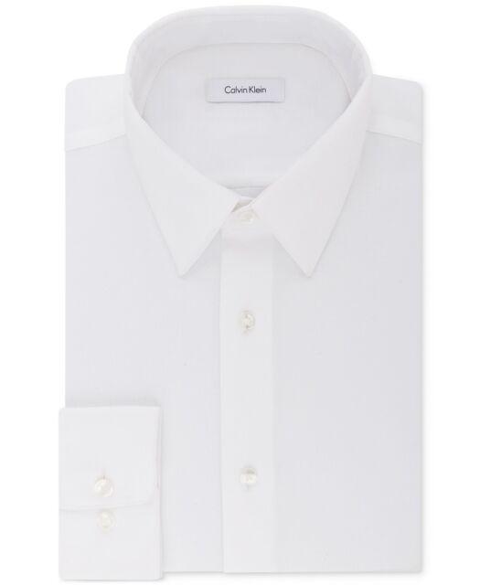 Calvin Klein Men's STEEL Regular Fit Solid Dress Shirt White 15 32/33 NEW $95
