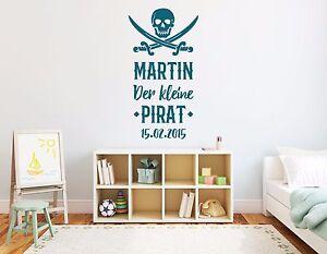 Details Zu Wandtattoo Name Kinderzimmer Baby Junge Kleiner Pirat Wunschname Datum Pkm175