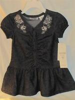 Guess Stretchy Blue Denim Ruffle Country Cowgirl Dress W/metallic Flowers 2t