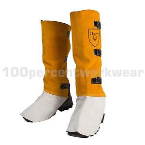 RHINOweld-Tan-Cow-Split-Leather-Welders-Welding-Gaiters-High-Leg-Protection-Work
