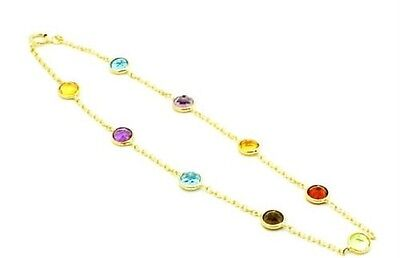 14k Yellow Gold Multi Colored Gemstone Anklet 9inch Fine Jewelry Ideal Gifts For Women