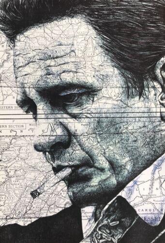 Johnny Cash Hand Drawn Portrait Greeting//birthday Card.
