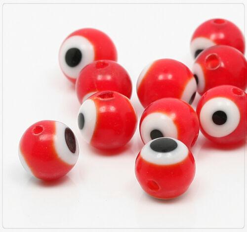 20x Glasperlen Augen Schmuck Basteln Perlen Beads DIY Kugel rot 8mm ss170