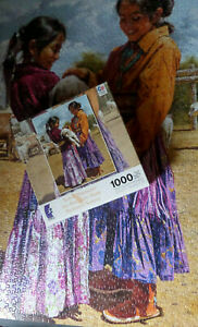 Ceaco: Native Portraits 1000-Piece Jigsaw Puzzle - Girls and Goats - Complete!