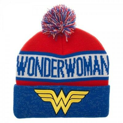 Wonder Woman Warm Winter Beanie Hat Cap Red White Blue Stars DC Comics Cuff Pom