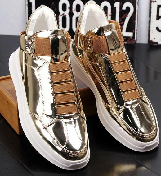 Mens Patent Leather High Top Sneakers Fashion Korean Casual Trainers shoes D474