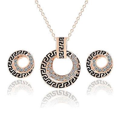 Fashion Women Rhinestone Crystal Pendant Necklace Earrings Jewelry Set New