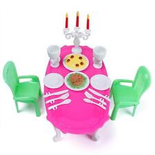 Dining Room Plastic Furniture Table Chair Spoon Kit Dollhouse for Barbie HomeDIY