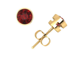 0-75Ct-Round-Cut-Ruby-Solitaire-Stud-Earrings-14k-Yellow-Gold-Bezel-AA-Screwback