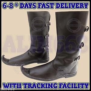 d54cf76024 Details about Medieval Leather Boots 3 Buckle Brown Re-enactment Men Shoes  Pirate Costume Boot