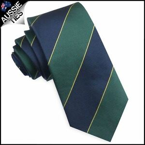 Australian-Colours-Tie-Blue-Green-amp-Gold-Stripes-Mens-Necktie-cricket-colours
