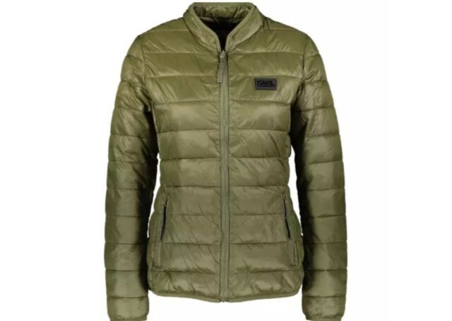 ee59245ca03c8 100 Auth Love Moschino Ladies Khaki Green Quilted Jacket With Logo ...