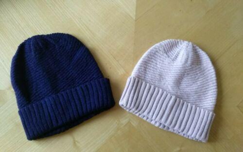 Femme Chapeau Bonnet tricoté unisexe classique bonnet bleu marine ou rose clair