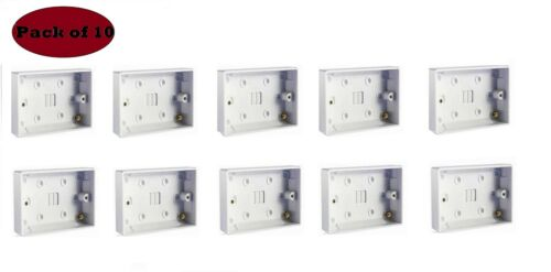 New Surface Mounted Back Box 25mm Wall Pattress Double 2 Gang Electrical Socket
