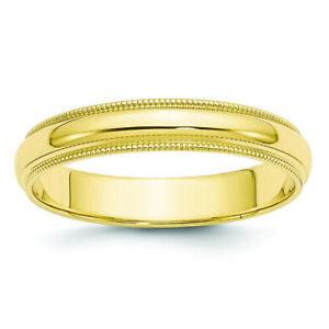 10k Yellow Gold 4mm Milgrain Comfort Fit Band Ring 1MC040