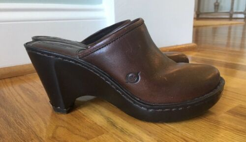 born brown leather wedge slip on mule clog heel pl