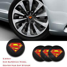 4pcsx 56.5mm Superman Logo Car Emblem Badge Sticker Wheel Center Hub Cap Decal