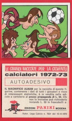 TORINO FIGURINA CALCIATORI PANINI 1972//73 N.355 CARICATURA SQUADRA NUOVA