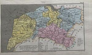 1808 Cumberland originale antico colorato a mano Contea di carta 212 anni
