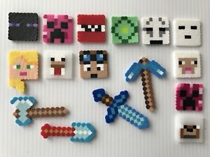 Set Of 16 Minecraft Birthday Cake Cupcake Toppers Handmade New Girls Ebay