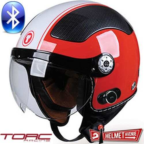 TORC T58B BLUETOOTH GLOSSY BLACK RED WHITE OPEN FACE MOTORCYCLE HELMET DOT XS-XL