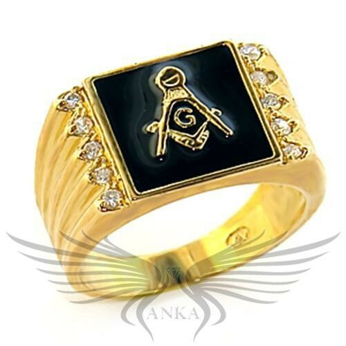 Men's Masonic Freemason Ring Gold Plated AAA CZ Cubic Zircon Accented 8X030