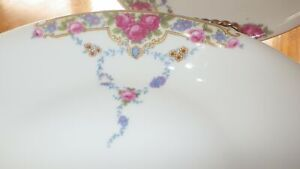 "Fine China Soup Bowls Pink Rose Floral VIT202 by VICTORIA CZECH 2 7"" bowls"