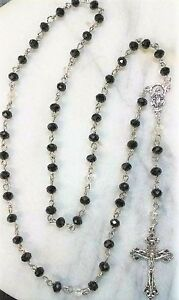 Rosary-Hand-made-with-Black-amp-Clear-Glass-Crystals-w-Silver-Cross-Catholic