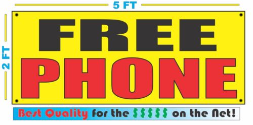FREE PHONE Banner Sign Yellow with Red /& Black for Cell Store