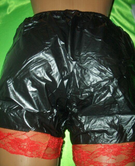 Gummi Höschen Windelhose schwarz rote Spitze Gr. L Gummihose PVC Schlüpfer (L181