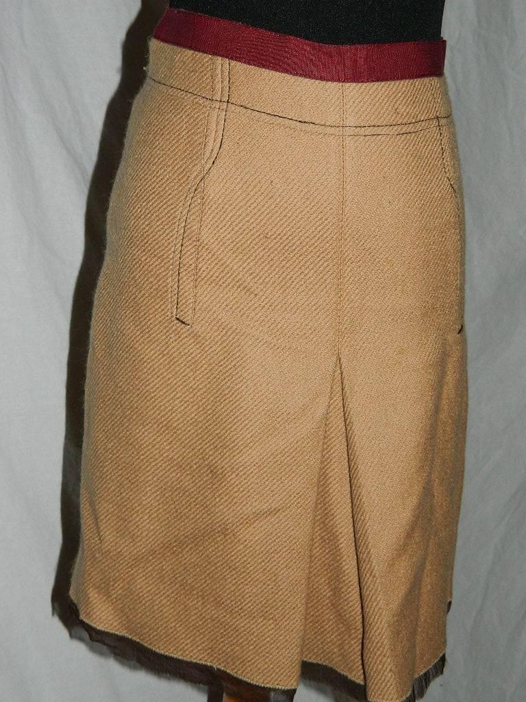 Prada Tan Wool Skirt w Maroon Grossgrain Ribbon Waist IT Size 38 (US 4)