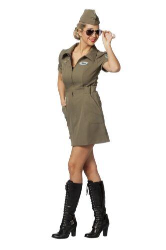 FFF Damen Kostüm Army Pilotin Kleid Karneval Fasching