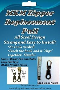 All-STEEL-Loop-Zipper-Repair-Pull-1pc-GOLD-SILVER-or-BLACK-Free-Ship