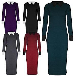 Herbst Schuhe anders heiß-verkaufender Fachmann Details zu Neuen Frauen Kontrast Farbe Midi Langarm Strick Enges Kleid 36-50