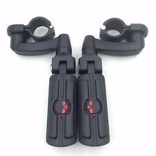 For Harley 1-1/4 Longhorn Highway bar Offset Foot peg rest clamps Black