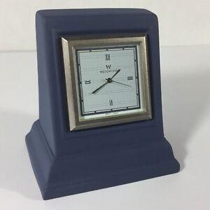 Wedgwood-Interiors-Blue-Jasperware-Small-Desk-Clock-Square-Japan-Movement-Great