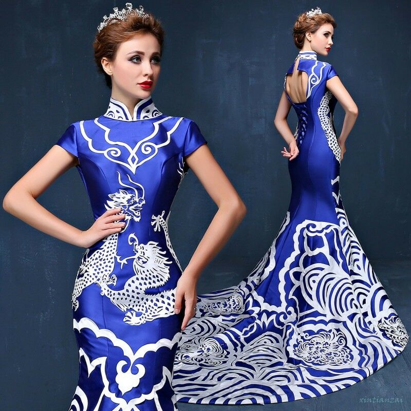 Cheongsam QiPao bluee & White Porcelain Womens Embroidery Evening Party Dress hot