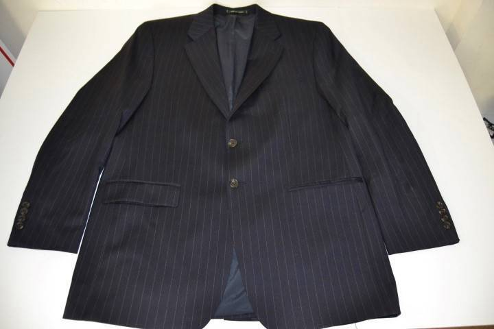 LAUREN RALPH LAUREN NAVY blueE PINSTRIPED 2 BUTTON BLAZER COAT MENS SIZE 43L