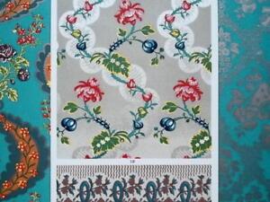 LOUIS-XVI-Era-Silk-Fabrics-Robes-Borders-A-RACINET-Color-Lithograph-Print