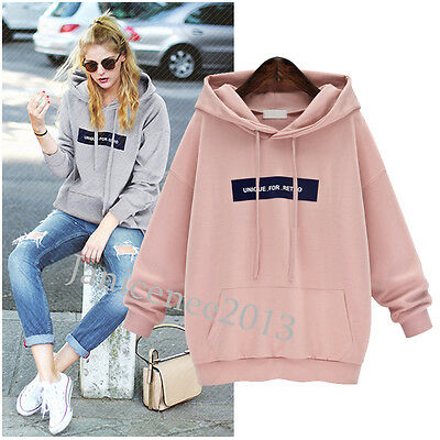 NEW Women Fashion Casual Hooded Top Long Sleeve Hoodie Jumper Loose Sweatshirt