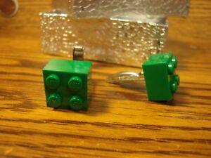 GREEN LEGO Design Cufflinks 1 Pair Two 5/8 x 5/8  Hamilton Gold Plate $3.00
