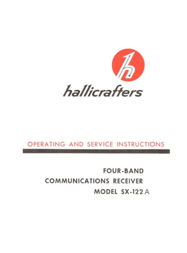 Hallicrafters SX-122A Operating /& Service Manual Reprint