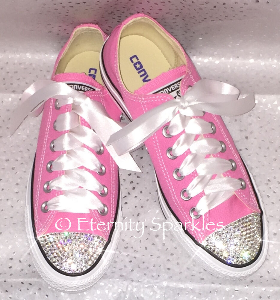 Customised Pink Crystal Crystal Crystal Bling Converse All Star Lo Made With SWAROVSKI ELEMENTS ee31b6